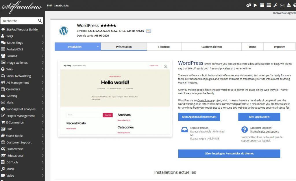 dashboard installation wordpress